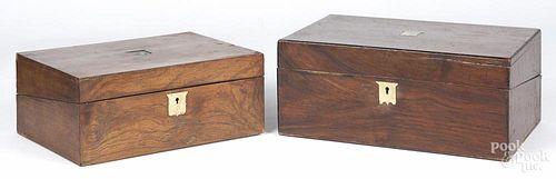 Two walnut veneer lap desks, 19th c., 5 3/4'' h., 13 3/4'' h. and 4 3/4'' h., 12'' w.