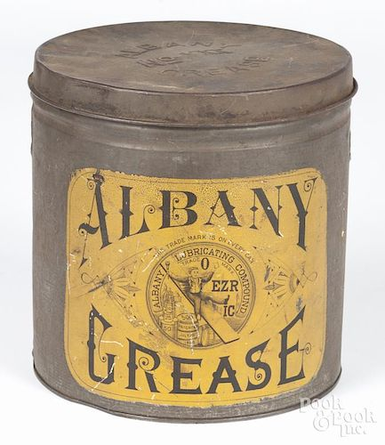 Albany Grease tin, 7 1/2'' h., together with a copper kettle, 8'' h.