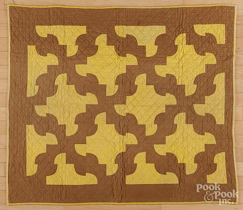 Pieced crib quilt, ca. 1900, with bar pattern reverse, 42'' x 36''.