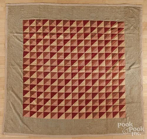 Pieced flying geese variant quilt, ca. 1900, 81'' x 81''.