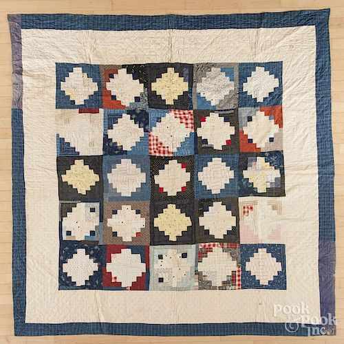 Double-sided pieced quilt, late 19th c., 79'' x 80''.