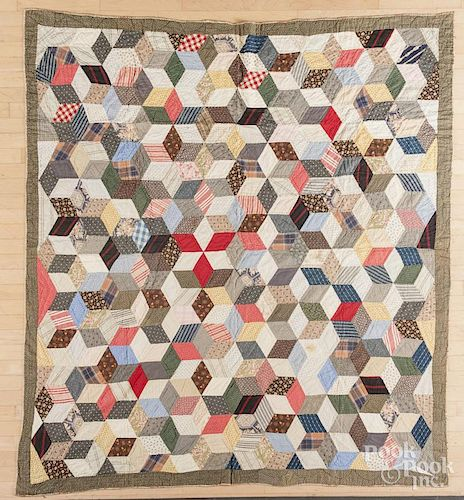 Pieced tumbling block quilt, late 19th c., 71'' x 80''.