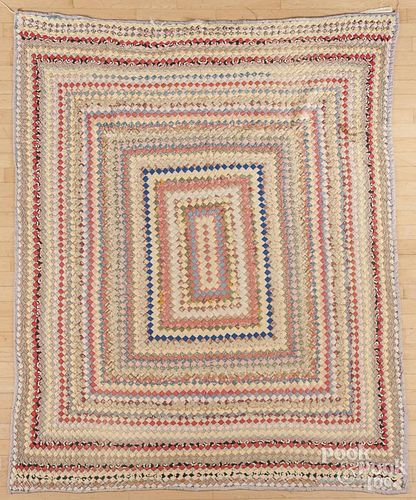 Postage stamp quilt, early 20th c., 65'' x 81''.