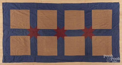 Amish block pattern youth quilt, early 20th c., 83'' x 43''.