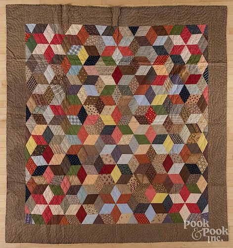 Pieced tumbling block quilt, late 19th c., 84'' x 91''.