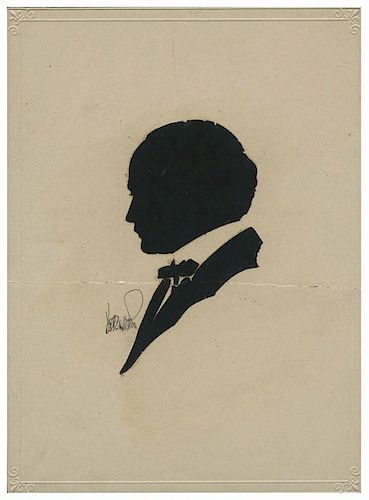 [Houdini, Harry] Silhouette of Harry Houdini Cut by Dai Vernon. N.p., ca. 1920. Scissor-cut profile portrait of Houdini in jacket and bowtie. Signed b