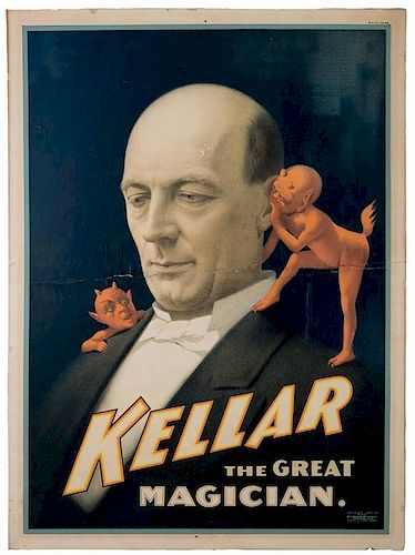 Kellar, Harry (Heinrich Keller). Kellar the Great Magician. Cincinnati: Strobridge, 1894. Color lithograph portrait of the famous magician, depicted w
