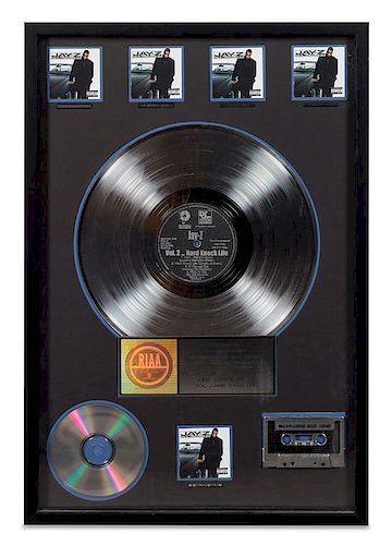 A Jay-Z: Vol 2... Hard Knock Life RIAA Certified 5x Platinum Presentation Album 24 3/4 x 16 3/4 inches.