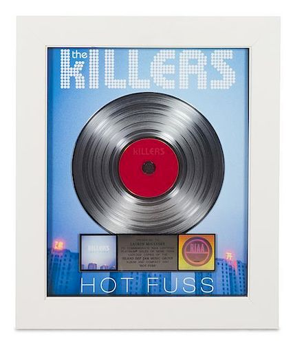 A The Killers: Hot Fuss RIAA Certified Platinum Presentation Album 24 1/4 x 20 1/4 inches.
