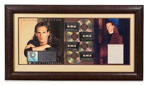 A Michael Bolton: TIme, Love, Tenderness RIAA Certified 4x Platinum Presentation Album 19 1/2 x 36 inches.