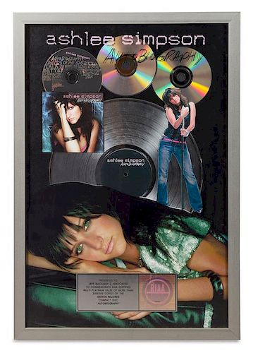 An Ashlee Simpson: Autobiography RIAA Certified 3x Platinum Presentation Album 25 1/4 x 17 1/4 inches.