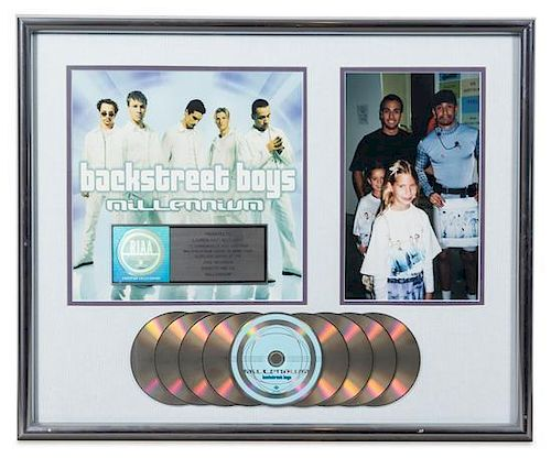 A Backstreet Boys: Millennium RIAA Certified 9x Platinum Presentation Album 20 3/4 x 25 1/4 inches.