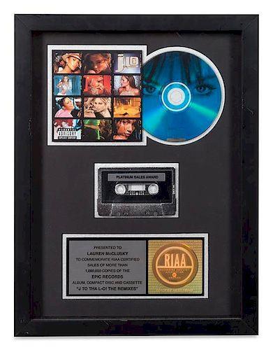 A Jennifer Lopez: J to tha L-O! The Remixes RIAA Certified Platinum Presentation Album 16 1/4 x 12 1/4 inches.