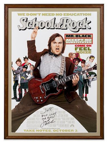 A Jack Black: School of Rock Autographed Movie Poster. 42 1/2 x 31 inches overall.