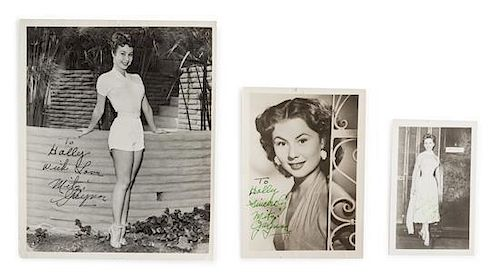 A Group of Three Mitzi Gaynor Autographed Photos Largest 10 x 8 inches.