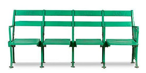 A Group of Four Comiskey Park Stadium Seats Height 32 x width 75 inches.