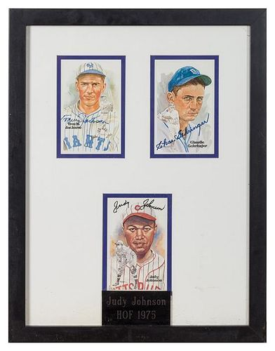 A Framed Group of Three Baseball Autographs 19 1/2 x 15 inches overall.