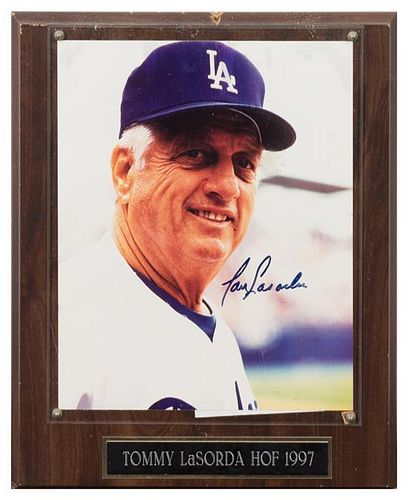 A Tommy Lasorda Autographed Photo Photo 10 x 8 inches.