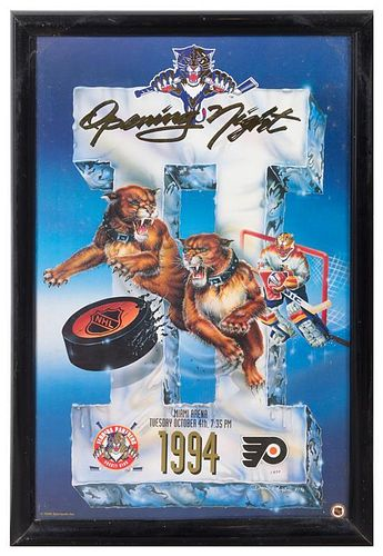 A Florida Panthers NHL 1994 Opening Night Poster 23 x 15 inches visible.