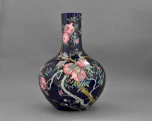 "A FINE Chinese Large Famille Rose Vase with Pomegranate and flowers, early 20th C. 23 1/8"" high 保存完好的中国大型石榴花粉彩花瓶,二"