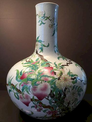 ANTIQUE Large Chinese Famille Rose Vase with 9 peaches,  late 19th century. Acquired from Sotheby's auction, Asian Week 2016 古老的大型中国九