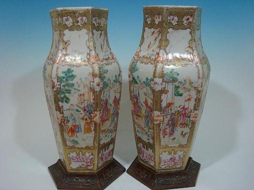 ANTIQUE Large Pair Chinese Famille Rose Vases. 18th Century. 一对大型中国粉彩花瓶。18世纪。