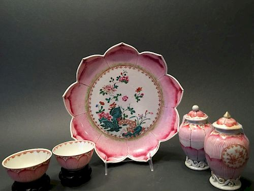 ANTIQUE Chinese Famille Rose Lotus Shallow Bowl, tea bowls, Jars, 18th C 中国古代粉彩莲花茶具一套,包含浅碗,茶杯,茶叶罐,18
