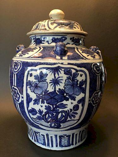 "ANTIQUE Chinese Blue and White Jar, Ming Wanli period. 16 1/2"" high 中国古代的青花瓶,明万历。高16.5英寸"