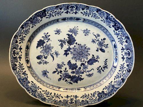 "ANTIQUE Chinese Blue and White Platter, 18th Century, 15 1/2""  x 13"" W 中国古代蓝白釉大盘, 18世纪, 15.5英寸x 宽13英寸"