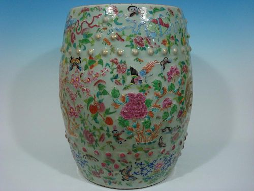 "ANTIQUE Chinese Celadon Famille Rose Flower Garden Seat, early 19th C. 19"" H 中国古代青瓷玫瑰纹饰座椅, 19世纪初, 高19英寸"