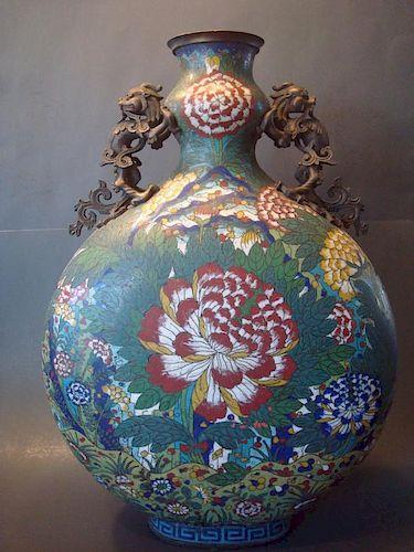 "ANTIQUE Large Chinese Cloisonne Moon Flask Vase, 20 1/2"" H. Qianlong Period. 中国古代景泰蓝大花瓶, 高20.5英寸, 乾隆时期"
