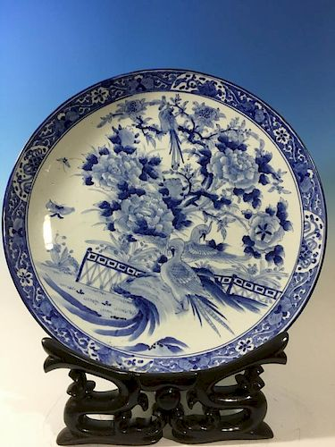 """ANTIQUE Huge Japanese Blue and White Charger with flowers and birds on stand , Meiji period, 24"""" diameter 日本古代站立花鸟纹饰蓝白釉瓷"""