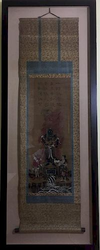ANTIQUE Chinese Religious THANKA Scroll with Chinese Calligraphy, 18th-19th Century 中国古代宗教唐卡长卷书法,18-19世纪