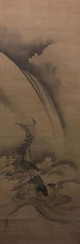 ANTIQUEJapanese Water color scroll painting with Carp Fish, signed 日本古代鲤鱼水彩画,有签名