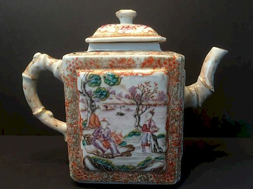 "ANTIQUE Huge Chinese Mandarin Palette Teapot, 18th C, Qianlong Period. 8"" H x 9 1/2"" x 4"" wide. 中国古代官用大茶壶,18世纪。乾隆,高8"