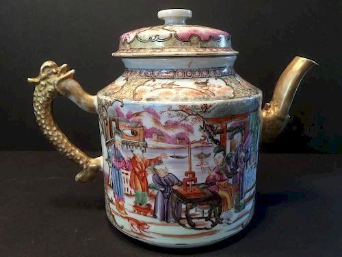 "ANTIQUE Huge Chinese Mandarin Palette Teapot, 18th C, Qianlong Period. 6 1/2"" H x 8"" wide. 中国古代官用大茶壶,18世纪。乾隆,高6."