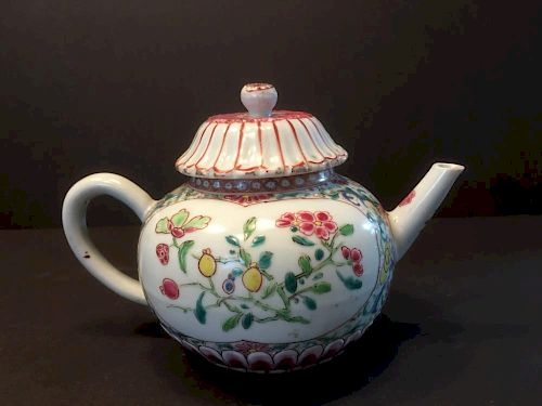 "ANTIQUE Chinese Famille Rose Lotus Teapot, early 18th Century, Yongzheng period. 4 1/4"" H x 6"" wide 中国古代粉彩莲花纹茶壶,18世纪初,"