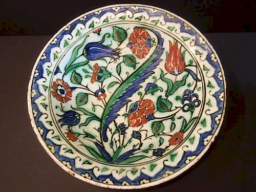 ANTIQUE Iznik Charger Plate with flowers and excellent enamels, 15th Century 古代伊兹尼克搪瓷花盘,15世纪