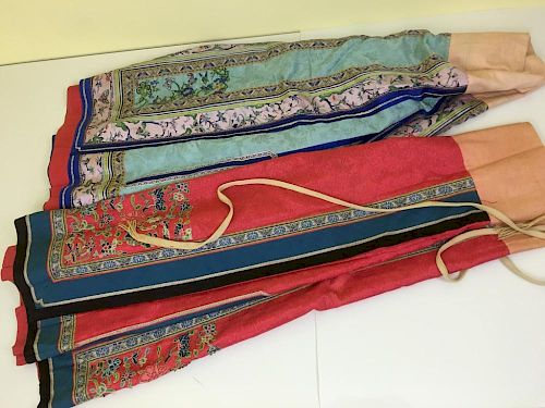 "ANTIQUE Chinese Two Large Embroidery Skirt Cloths.  Late 19th Century. 38"" long 中国古代绣花大裙两条,19世纪末。长38英寸"