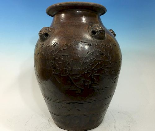 """ANTIQUE Chinese Large Vase with Dragon heads on shoulder, 19th century or early. 20"""" high x 15"""" wide 中国古代龙头双肩大花瓶,19世纪或"""