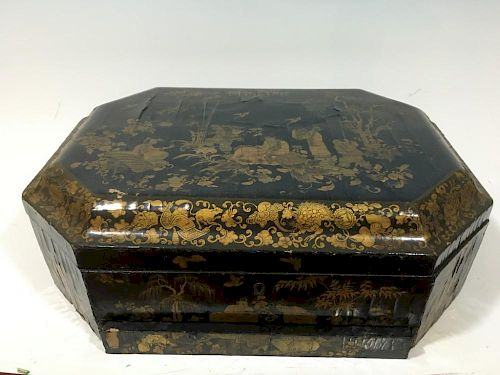 "ANTIQUE Chinese Large Lacquer wood Box, 18th Century, Qianlong period. 19"" x 13 1/2"" x 7"" H 中国古代漆器大木盒,18世纪,乾隆时期.19"