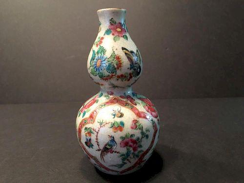 "ANTIQUE Chinese Large Rose Medallion Double Gourds Bottle, 19th Century. 6"" H 中国古代玫瑰花纹双葫芦大瓶,19世纪. 高6英寸"