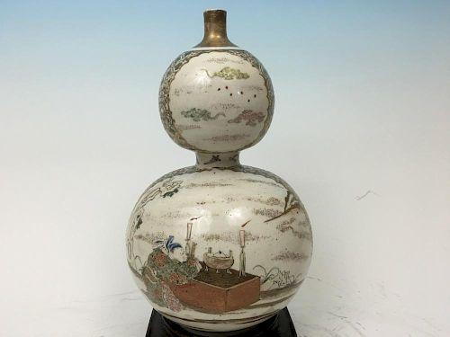 "ANTIQUE Japanese Satsuma Double Gourds Bottle, 18th century.  11 1/2"" high 古董日本双葫芦瓶,18世纪. 高11.5英寸"