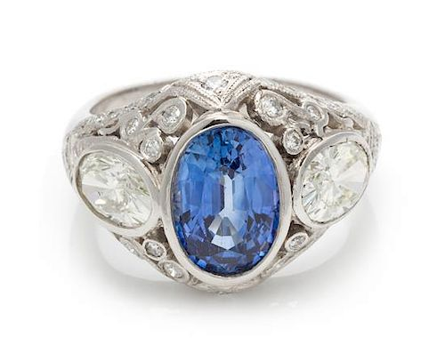 A Platinum, Sapphire and Diamond Ring, 7.80 dwts.