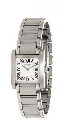 "A Stainless Steel Ref. 2300 ""Tank Francaise"" Wristwatch, Cartier, 34.20 dwts."