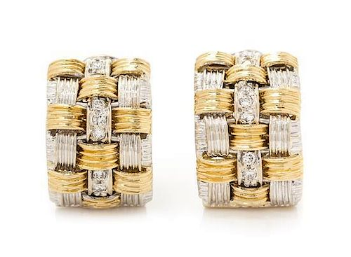 "A Pair of 18 Karat Bicolor Gold and Diamond ""Appasionata"" Earclips, Italian, 16.00 dwts."