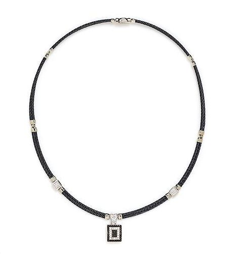 """A Black PVD Coated Stainless Steel, 18 Karat White Gold, Diamond and Black Diamond """"Celtic Noir"""" Necklace, Charriol, 16.10 dwts."""