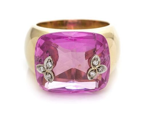 An 18 Karat Yellow Gold, Synthetic Pink Sapphire and Diamond Ring, Paolo Piovan, 12.90 dwts.