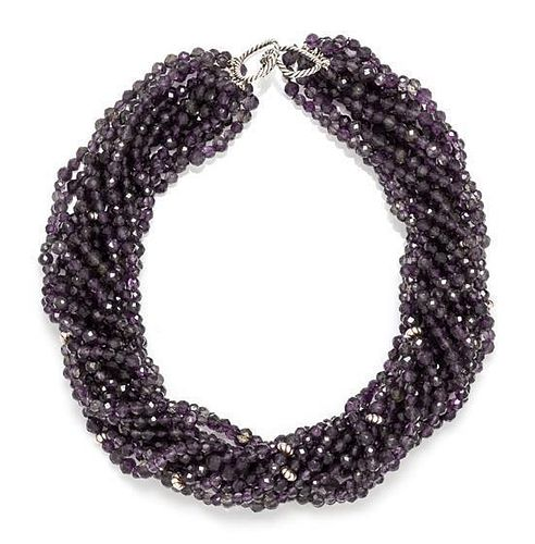 A Sterling Silver and Iolite Bead Necklace, David Yurman,