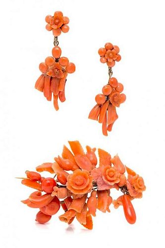 * A Carved Coral Demi Parure, Circa Mid 19th Century, 13.40 dwts.